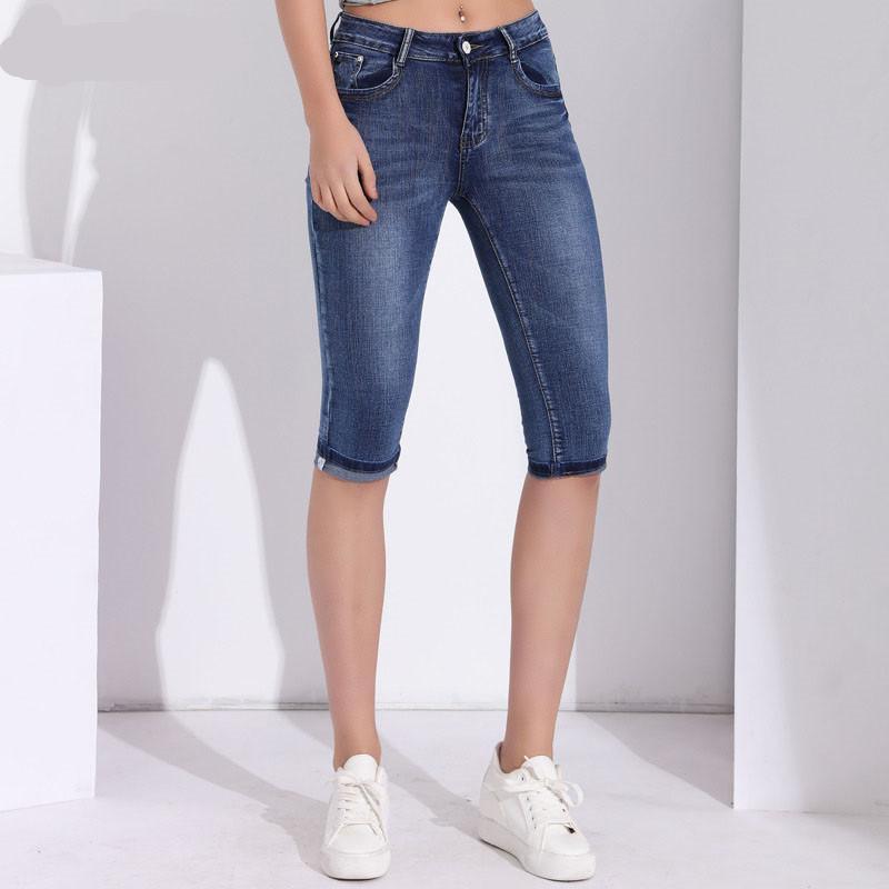 d7b2d3bcca3 2019 Denim Capris For Women Plus Size Calf Length Pants Skinny Jeans Woman  High Waist Jeans Stretch Slim Jean Female Summer Clothing From Netecool