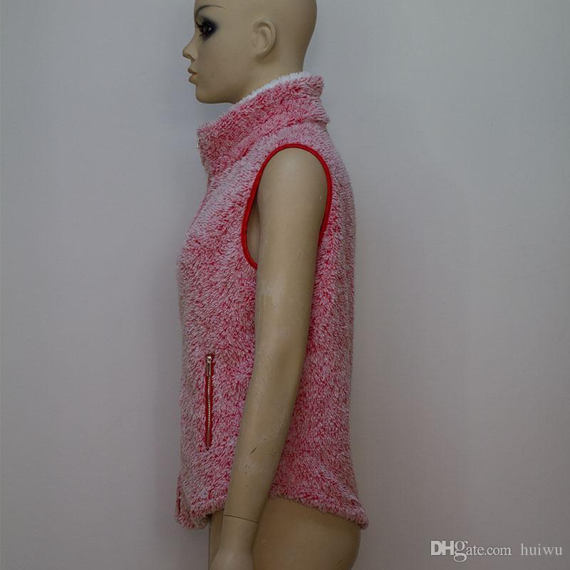 Femmes Nouveau Gilet d'hiver chaud Outwear Casual fausse fourrure Zip Jacket Sherpa Berber Gilet en molleton