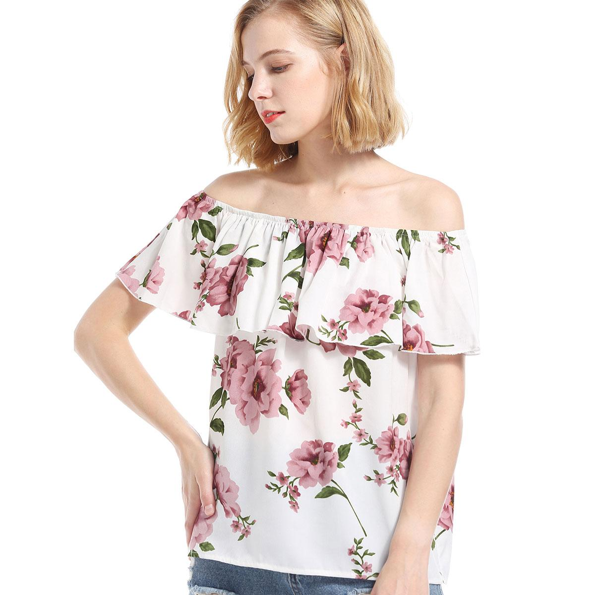 a522b31b0f92dc 2019 2018 Summer Women Casual Floral Print Chiffon Blouse Ruffle Slash Neck Short  Sleeve Beach Holiday T Shirt Loose Shirt Tops From Hengytrade