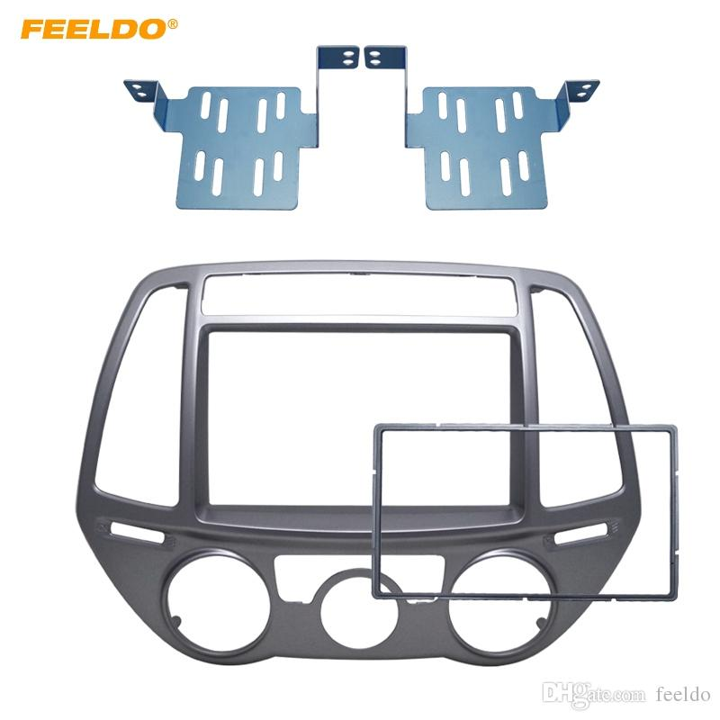 FEELDO 2Din Car Fascia for Hyundai I-20 I20 I 20 Manual AC Radio DVD Stereo GPS Panel Dash Mount Trim Kit Face Plate Bezel Facia #5148