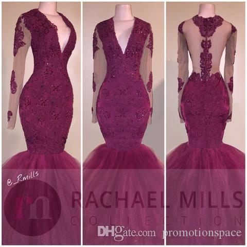 2018 부르고뉴 아프리카 인어 긴팔 원피스 드레스 섹시한 V 넥 애플리케이터 주름 장식이 달린 파티 용 리셉션 이브닝 드레스 스윕 열차