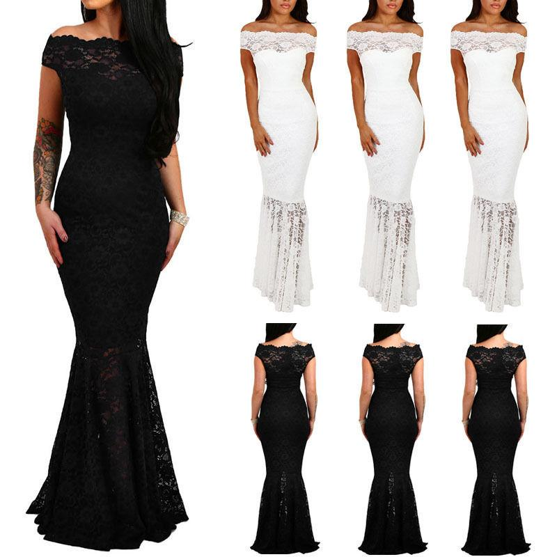 3d1f3a6eb7 Women Ladies Off Shoulder Evening Slim Party Bodycon Slim Lace Short Sleeve  Fishtail Solid Dress Dresses Summer Long Cocktail Dress From Bibei04