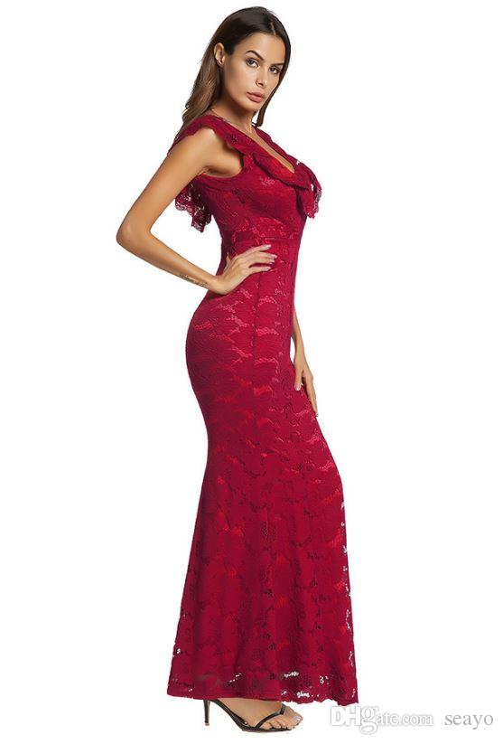 2018 spring new dress, European and American red sexy dress, lace dress dress explosion, factory direct sale