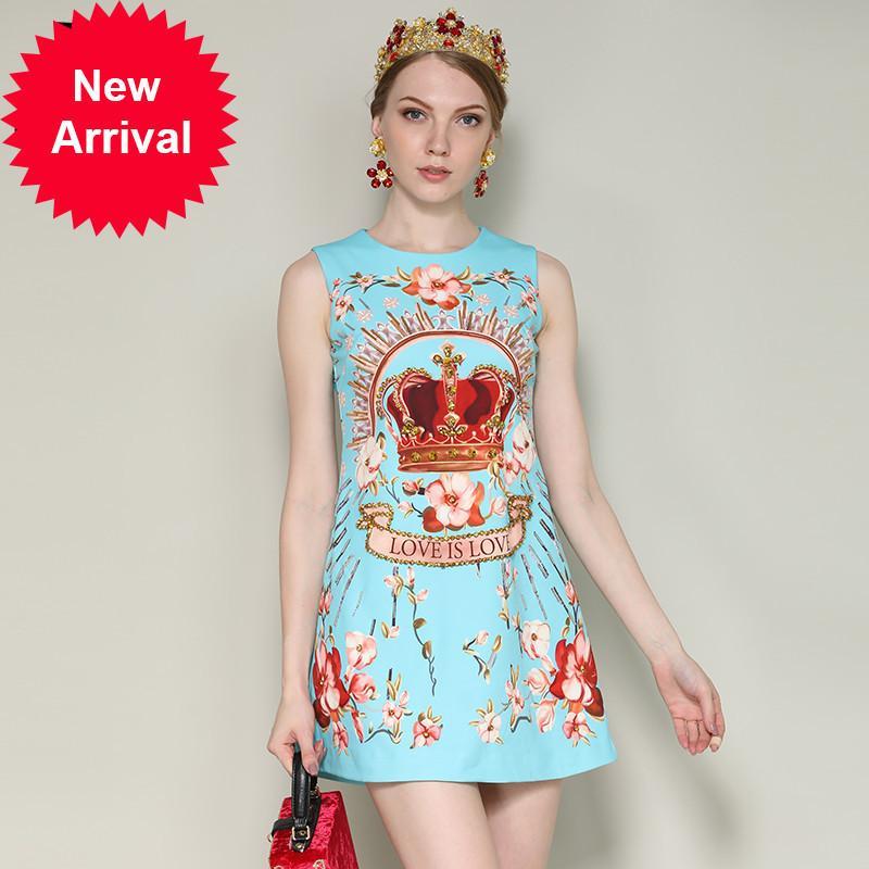 9c21b69284866 New 2018 Fashion Designer Runway Summer Dress Women s Sleeveless Elegant  Crown Floral Print Beading Short Dress