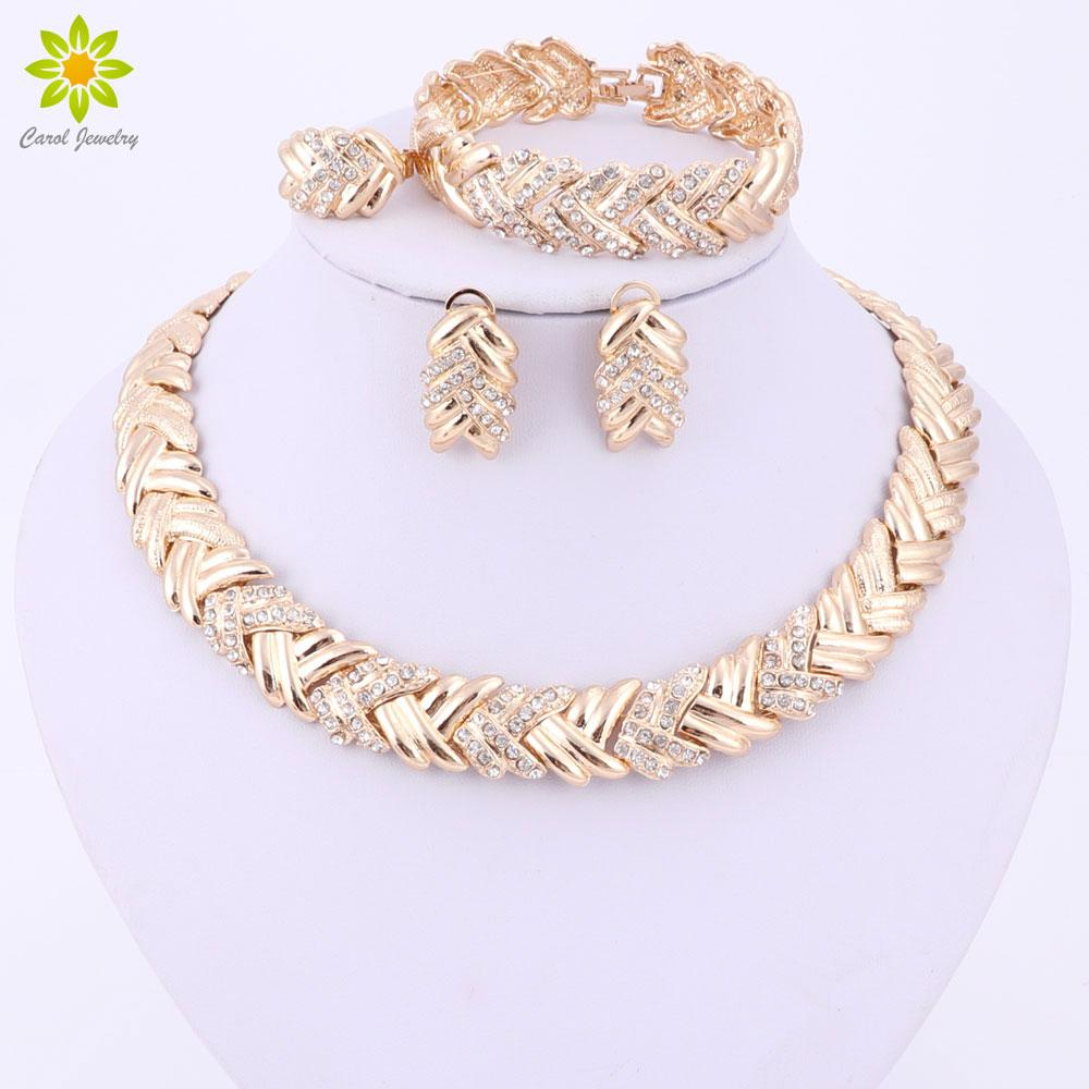 Whole Sale2017 Fashion Dubai Gold Color Jewelry Sets Costume Big