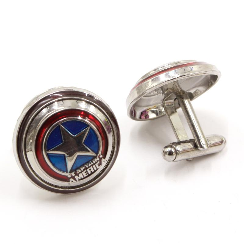 Movie Superhero Captain America Vibranium Shield Cuff Links Shirt Brand Cuff Buttons Metal Alloy Party Cufflinks For Mens Gifts