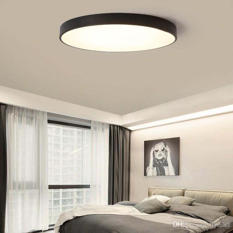 2019 LED Ceiling Light Modern Lamp Living Room Lighting Fixture Bedroom  Kitchen Surface Mount Flush Ultra Thin LED Panel Light Black/White From ...
