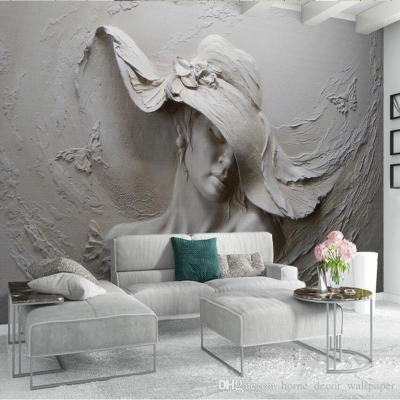 Personalizado Papel De Parede 3D Estereoscópico Em Relevo Cinza Beleza  Pintura A Óleo Moderna Arte Abstrata Da Parede Mural Sala de estar Quarto