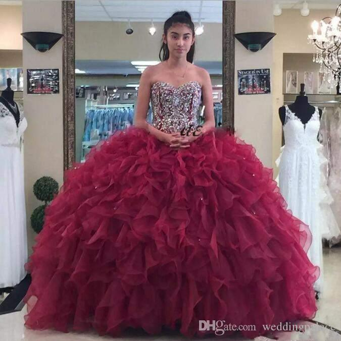 2018 luxuriöse quinceanera kleider ballkleid schatz rüschen sleeveless sexy zurück design formale abendkleider prom dress