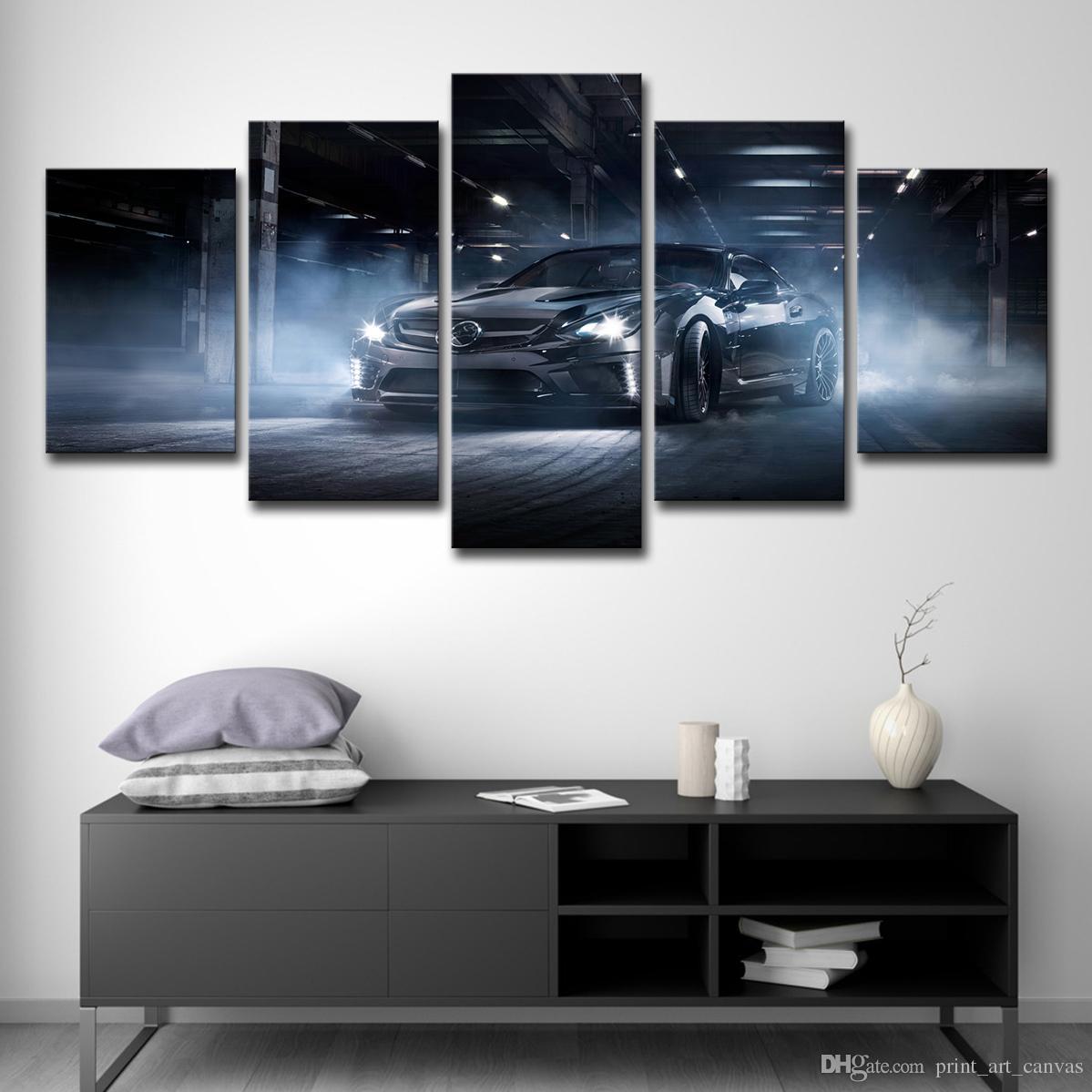 Moderne Leinwand Wand Kunst Poster Home Decor 5 Stücke Schwarz Coole Auffällige Sport Auto Gemälde Hd Drucke Modularen Bilder
