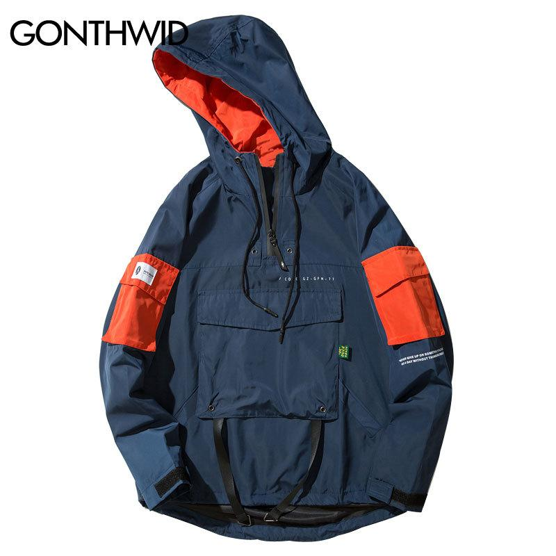 ece422971df GONTHWID Front Pocket Pullover Jackets Men 2017 Autumn Half Zipper Hoodie  Jacket Male Hip Hop Casual Windbreaker Coat Streetwear S1015 Avirex Leather  ...