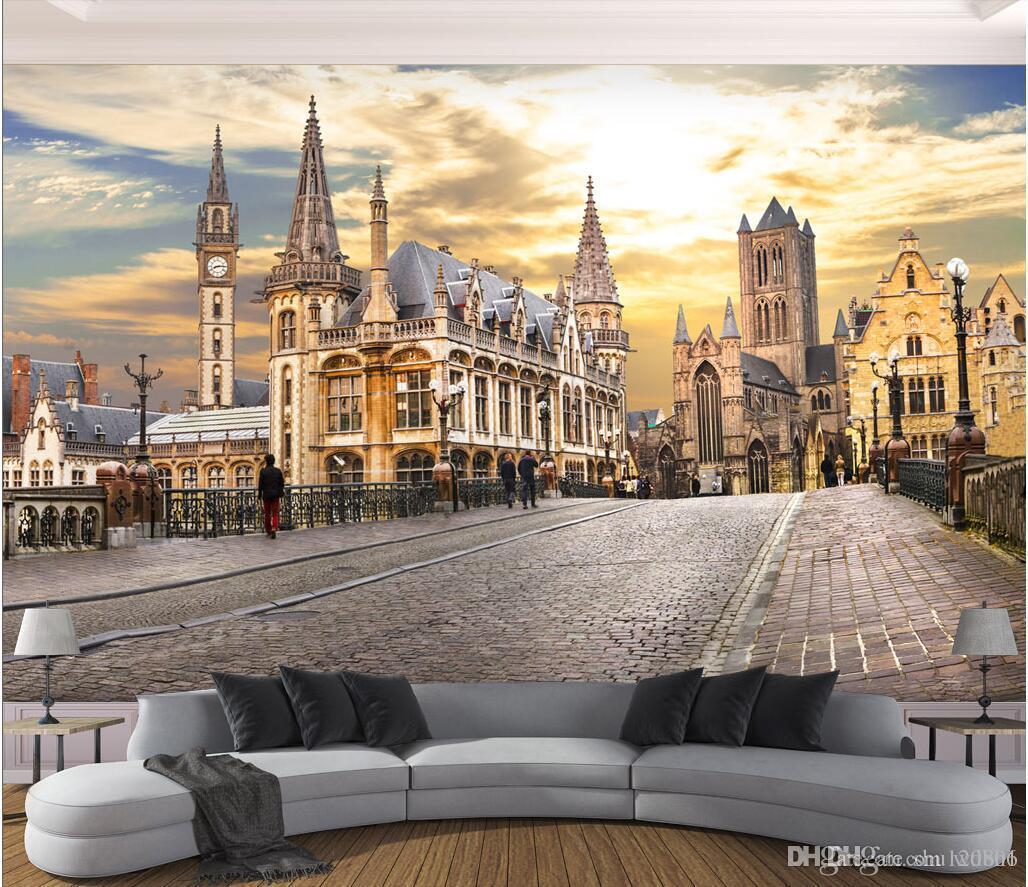 3d Wallpaper Custom Photo Mural European Cityscape Tv Background