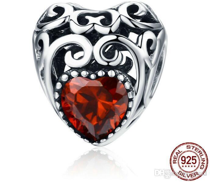 Europa stile vintage cuori in argento sterling 925 perline sciolte pendenti bracciali fai da te, 12 gemme di nascita diversi colori accessori charms
