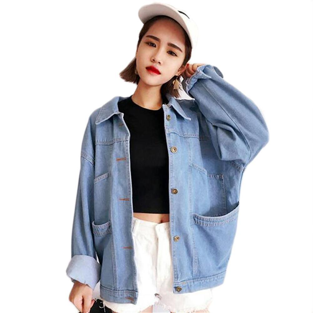 8a28482183 2018 Spring Autumn Women Casual Korean Style Denim Jacket Plus Size Female BF  Jeans Jacket Lady Cowboy Coat Outwear Streetwear Fur Jackets Parka Jackets  ...
