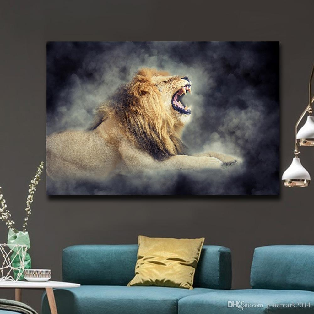 2018 Large Size Male Lion In Smoke Cool Wall Art Posters For Living Room  Canvas Painting Home Decor Animals Pictures No Framed From Jonemark2014, ...