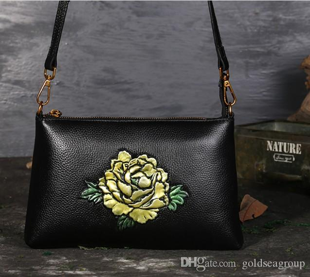 Embossed Rose Bag Classical Flower Shoulder