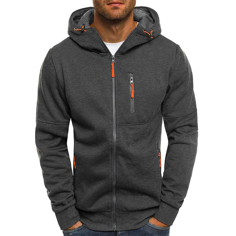 ad9738d3c19 FeiTong Basic Jacket Coat Men  Autum Winter Long Sleeve Zipper ...