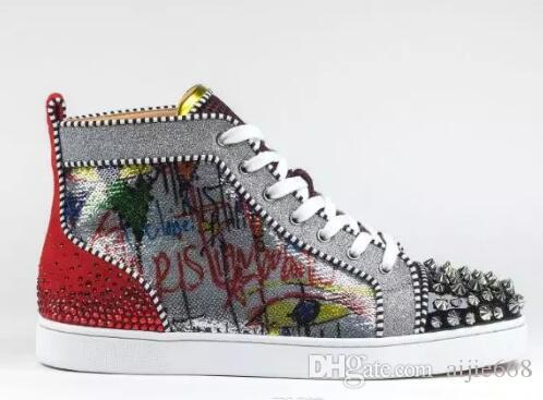 729e86b5240 2018 New Season Red Bottom Sneakers Men Shoes Luxury Print Silver Pik Pik  No Limit RARE studs and rhinestones graffiti