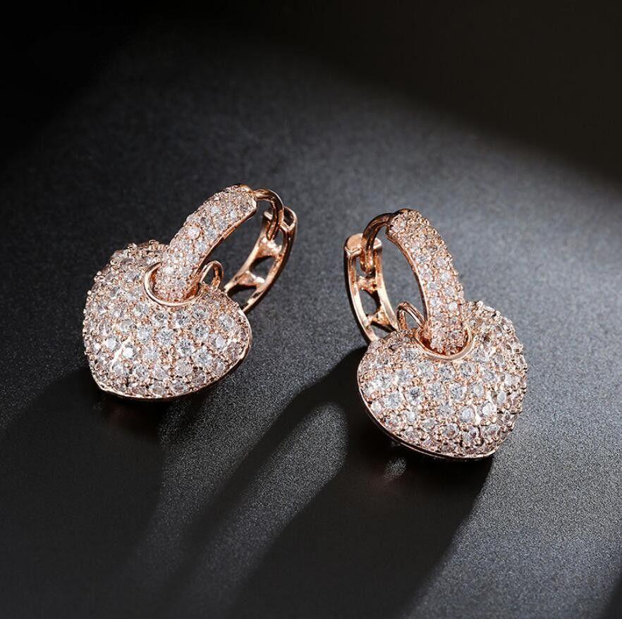 Новые роскошные ювелирные изделия 18КТ белый золото заполнены Pave полный белый сапфир CZ алмазные женщины падение серьги для подарка любовников с коробкой