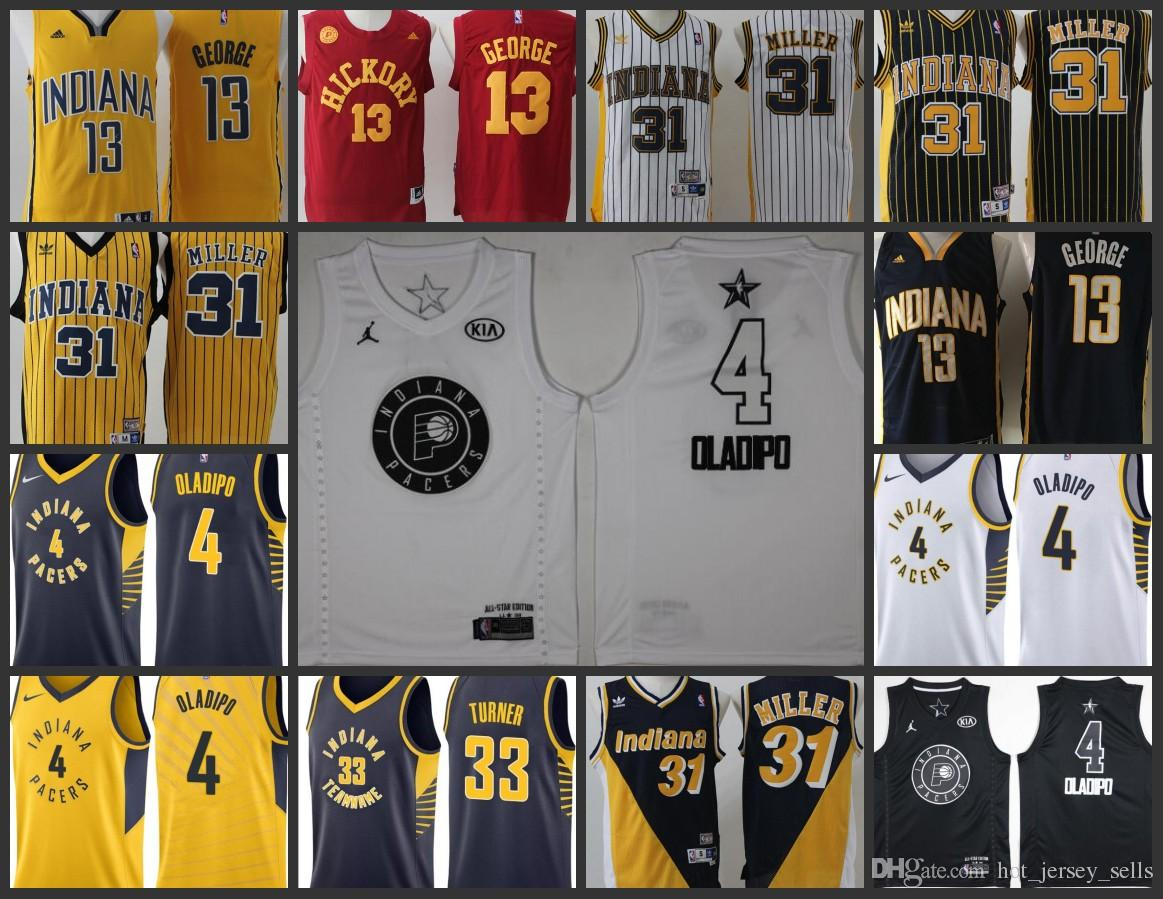 2018 Indiana Pacers Men Jerseys  33 Myles Turner 31 Reggie Miller 4 Victor  Oladipo 13 Paul George Stitched Jersey From Nfl hot jerseys 9a2a41e19
