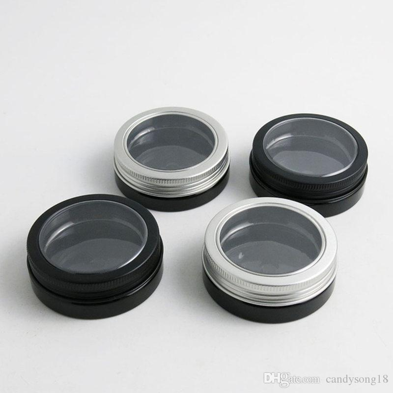 30g Travel Empty Black Pet Skin Care Cream Jar With Window Metal Lids 1oz Cosmetic Container fast shipping F1057