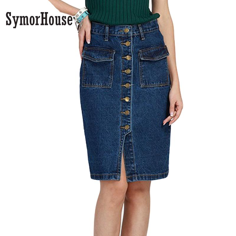 5dcce9dca7011 2019 2XL Plus Size Women Denim Skirt 2017 Autumn Summer Vintage Button Jeans  Skirt Slim Office Sexy Pencil Skirts For Women From Edmund02