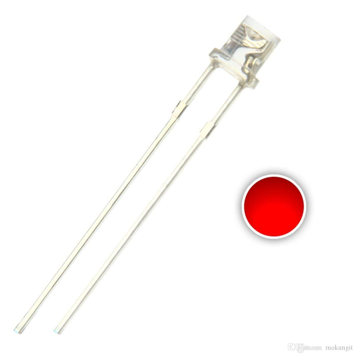 100 pcs 3mm Red LED Diode Lights (Clear Transparent Flat Top DC 2V 20mA) Bright Lighting Bulb Lamps Electronics Components Light Emitting