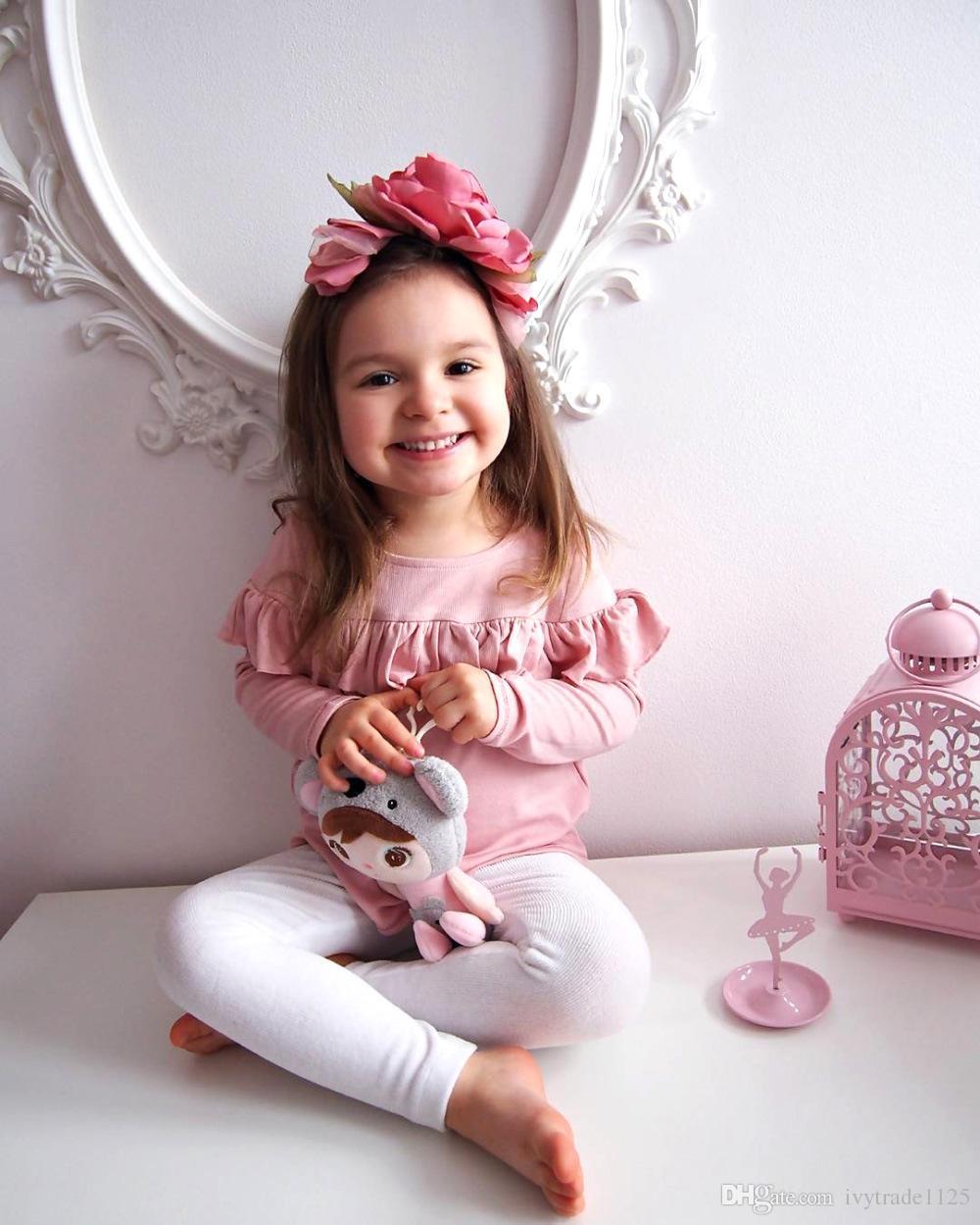 INS nouveau fille t-shirt ensemble costumes enfants volants rose t-shirt + pantalon d'argent + chapeau bowknot trois ensembles fille vêtements fille t-shirt
