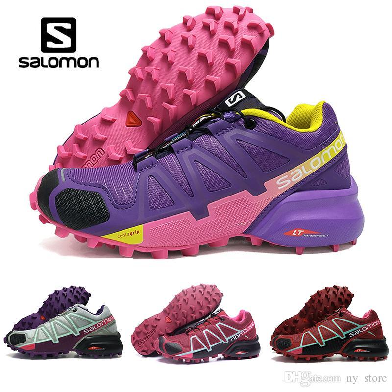 reputable site 7d5a2 331b3 Frauen Salomon Geschwindigkeit Kreuz 4 IV CS dunkelrot rosa lila Outdoor  Schuhe atmungsaktiv weibliche Leichtathletik Mesh Fechten Schuhe Sport ...