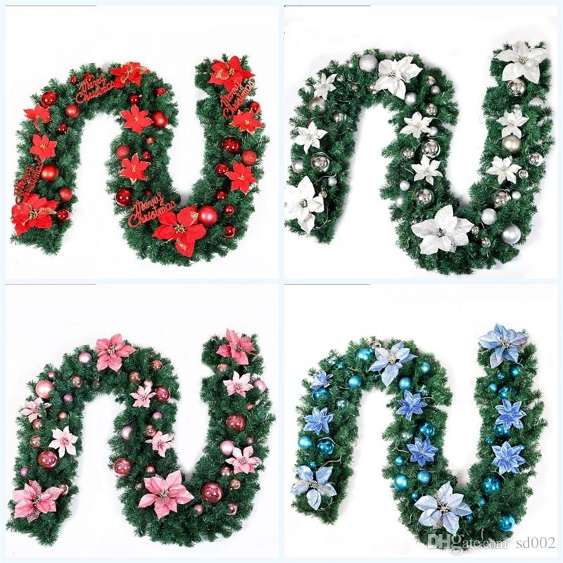 Christmas Decoration Bar Artificial Flower Ribbon Garland Tree Ornaments White Dark Green Cane Pvc Simulation Flowers Party Supplies 49zt jj