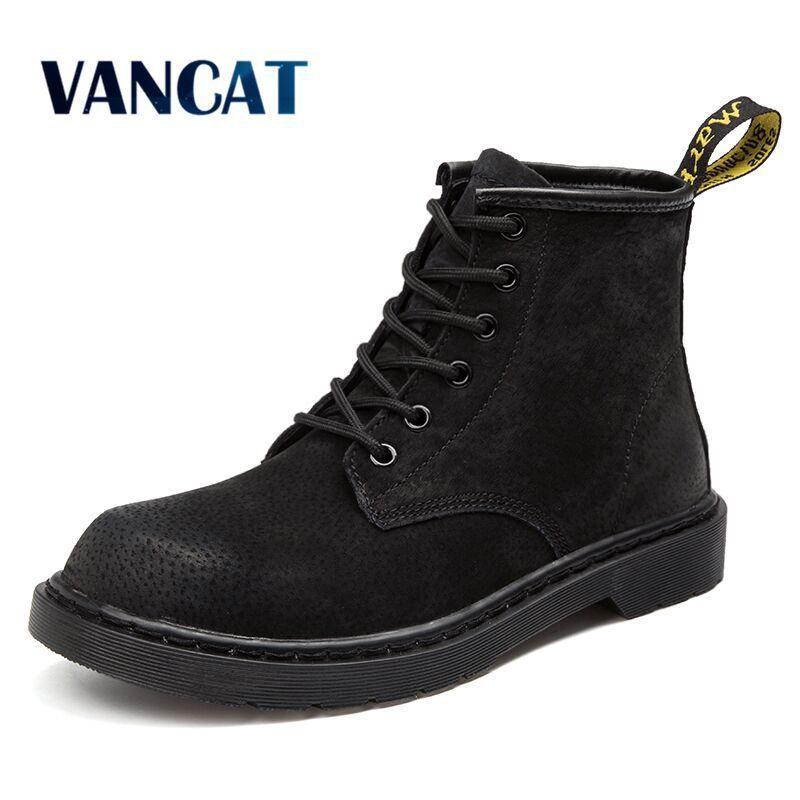 53dcc1e7c6 2019 Vancat Brand Warm Men S Autumn Winter Genuine Leather Men Waterproof Snow  Boots Work Safety Ankle Boots Men S Big Size 46 Sneakers Mens Dress Boots  ...
