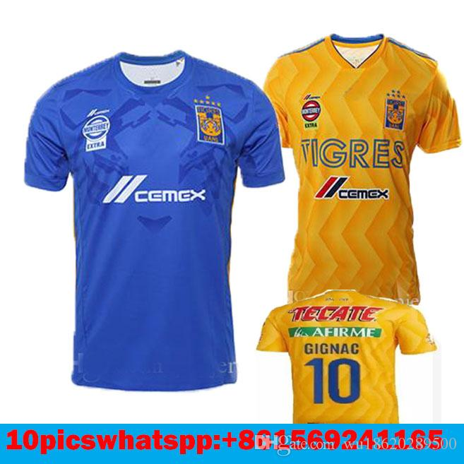 71b1acce9 2019 2018 2019 Tigres UANL SOCCER JERSEY 18 19 Tigres UANL GIGNAC DAMIAN  VARGAS ZELARAYAN HOME YELLOW FOOTBALL SHIRTS THAILAND QUALITY CUSTMIZE From  ...