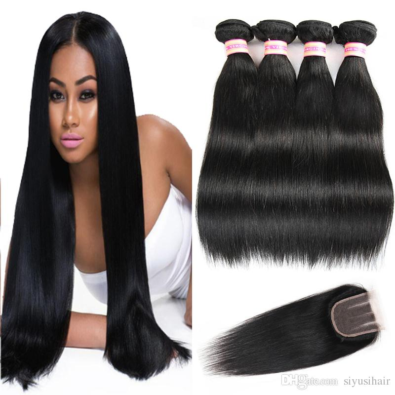 Indian Peruvian Malaysian Brazilian Straight Virgin Hair With Closure 9A Unprocessed Human Hair With Closure Bundles And Closure