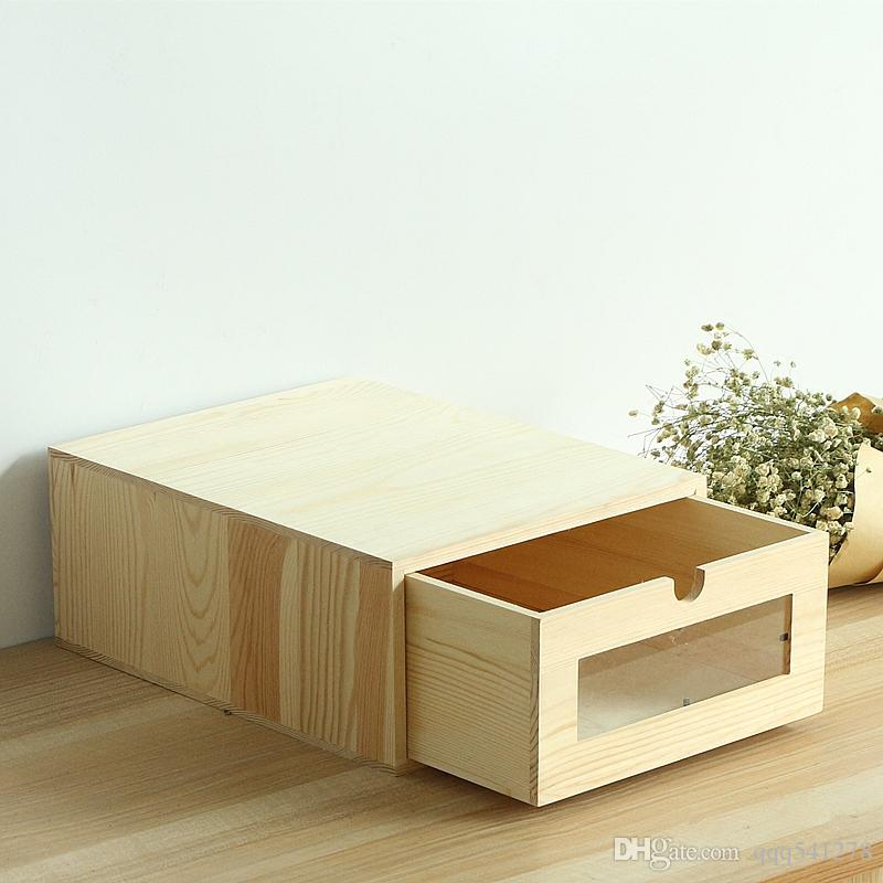 Wooden Desk Organizer A4 Paper Bill Office Stationary Files Storage Box Eco Friendly No Paint Wood Drawers