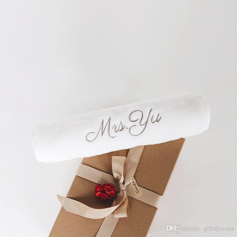 عرف شعار التطريز زفاف منشفة وصيفة الشرف هدايا عيد الحب هدية عيد ميلاد 2 جهاز كمبيوتر شخصى الكثير الشحن مجانا