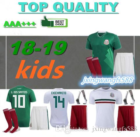 Best Kids 2018 World Cup Soccer Jersey Kits Mexico Home Green Chicharito  Fabian G Dos Santos 18 19 Mexico Away White Child Football Shirt Under   16.41 ... 0014c06f1