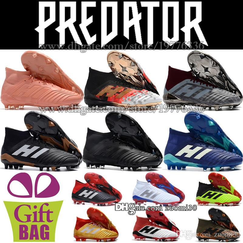 2019 Cheap Mens Predator 18.1 FG Soccer Shoes Original High Ankle Soccer  Cleats Socks Predator Football Boots Outdoor Leather Football Cleats From  Zuomi30 ba214f88311
