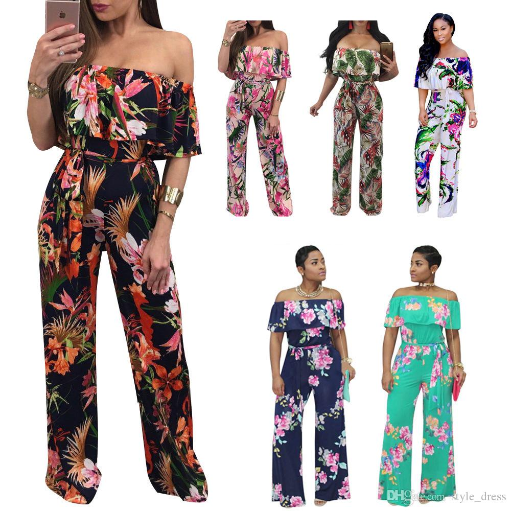 48cacb690eb Women Off Shoulder Floral Printed Jumpsuit Ruffle Summer Beach Boho Long  Wide Leg Pants Playsuit UK 2019 From Style dress