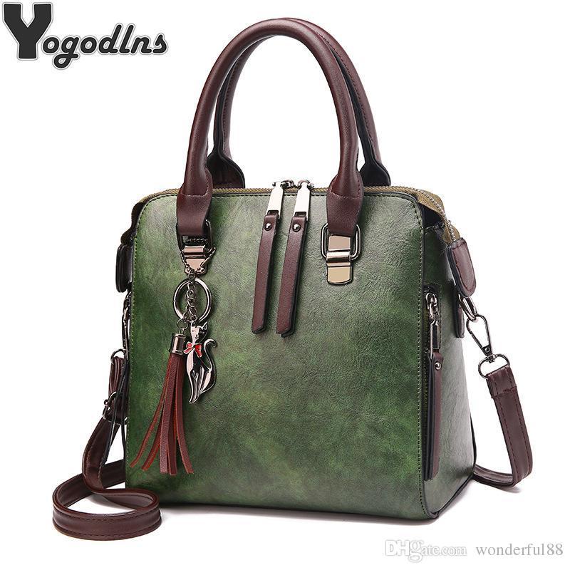 Vintage Leather Ladies HandBags Women Messenger Bags TotesTassel Designer  Crossbody Shoulder Bag Boston Hand Bags Hot Sale Leather Backpack Beach Bags  From ... 8f66440fa6371