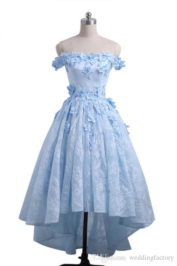 2019 High Low Prom Dress Baby Blue Off the Shoulder Asymmetrical Prom Dresses 3d Floral Appliques Zipper up Evening Party Gowns