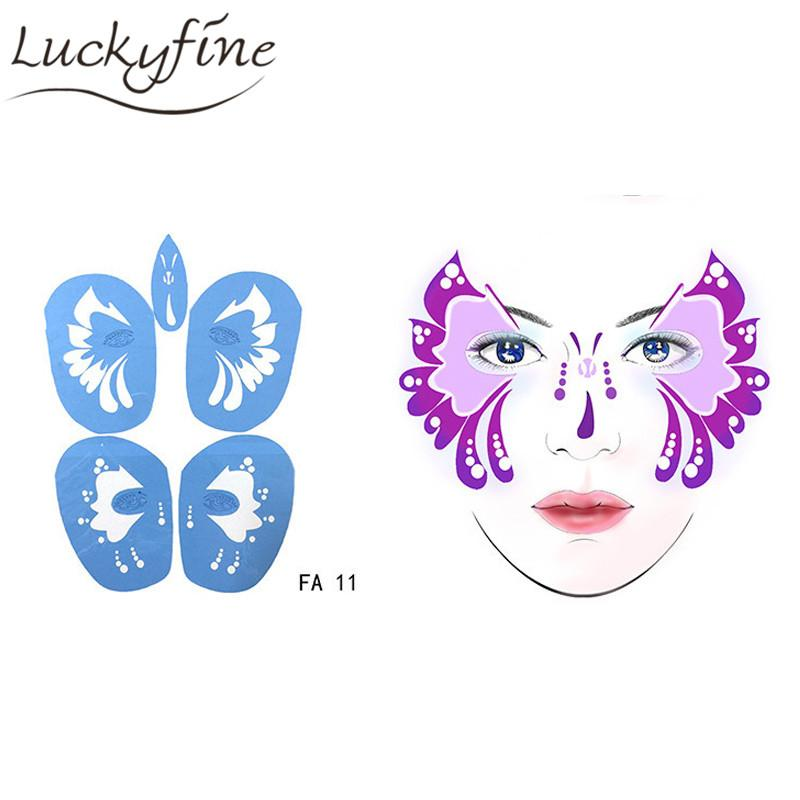 Soft Face Body Paint Stencil Reusable Temporary Tattoo Template ...