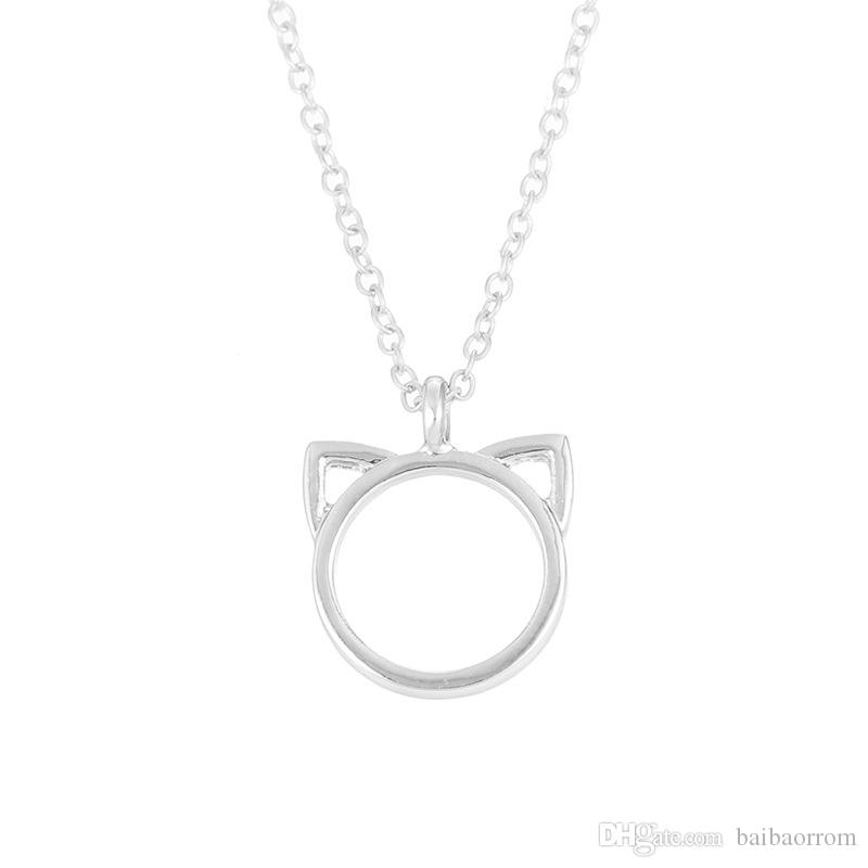 High Quality NO Dogeared LOGO Fashion Jewelry Purrfection cat ear alloy pendant short necklace Women Mother Day Gift Wholesale