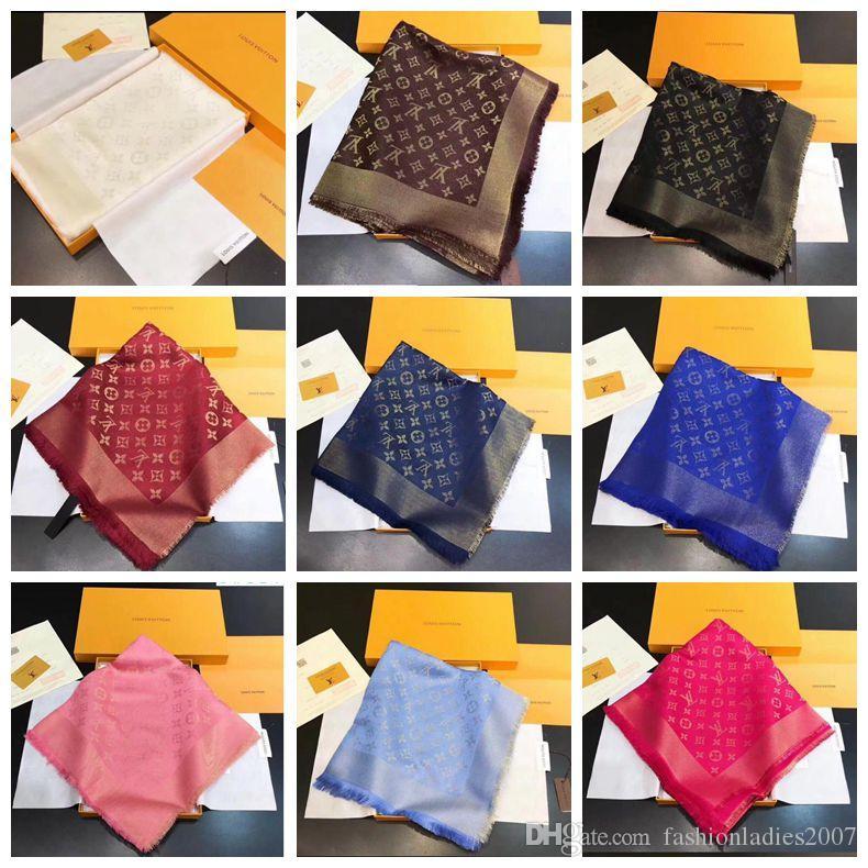 8963d4d0522a Acheter Designer Laine Foulard De Soie Pashmina 15 Couleurs De Luxe Marque  Monogram Motif Femmes Cachemire De Soie Foulards Wraps Haute Qualtiy ...