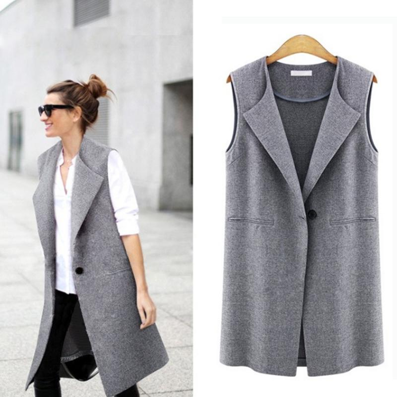 aa83914a86f15 Casual sleeveless blazer vest woman ladies femme female summer black gray  plus size oversized big quilted long suit vests jacket