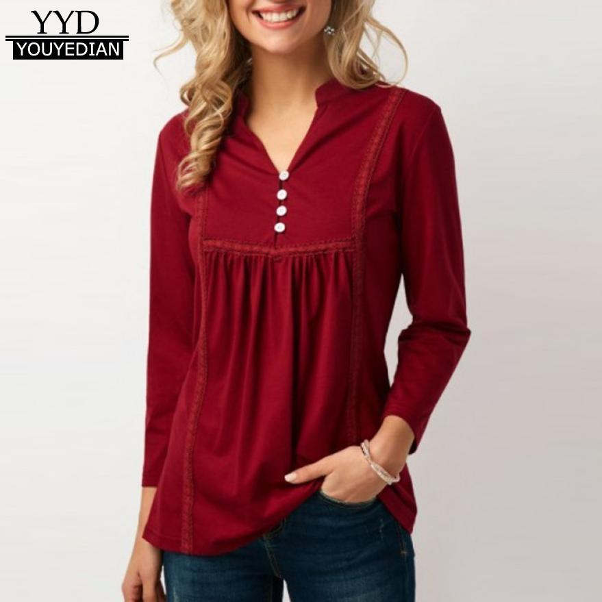 c63089bf5395dc Ladies Office Wear Tops And Blouses Women's Red Casual V-Neck Button Long  Sleeved Blouse Tops Camisas Mujer *1223