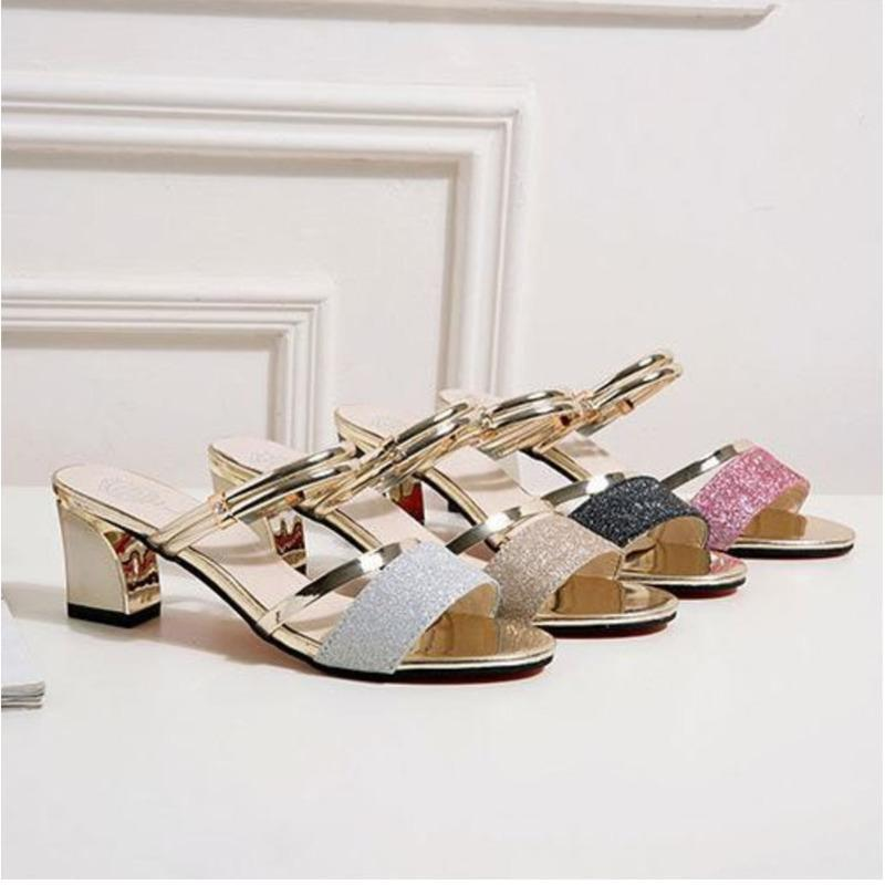 a52c12d79 Women Summer Sandals 2018 New Pattern Fashion Two Ways To Wear Women S  Black Silver Gold Purple Coarse Heel Shoes 35 40 Code Best Silver Shoes  Mens Sandals ...