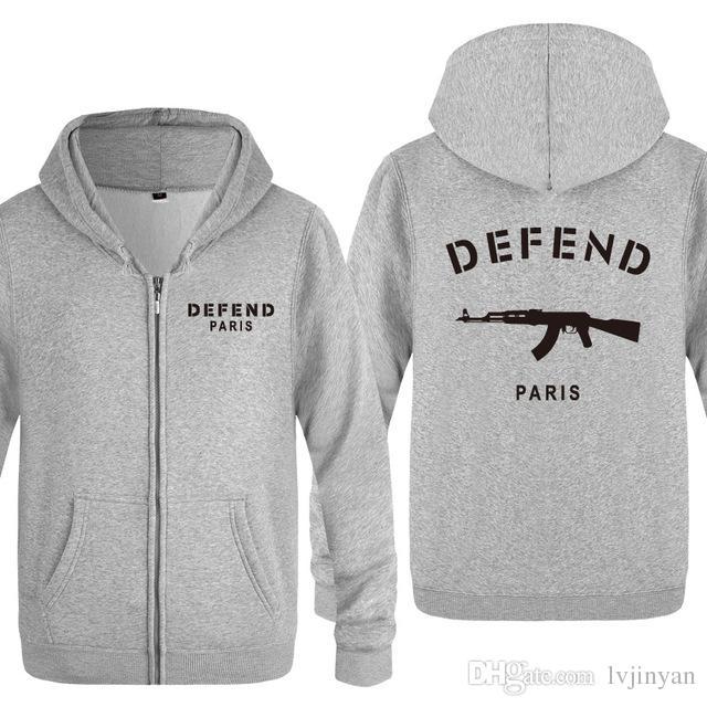 Zipper Hoodies Männer DEFEND PARIS AK47 Drucken Herren Hoodie Hip Hop Fleece Volle Hülse Jacke Mantel Mode Sweatshirt für Männer Frauen