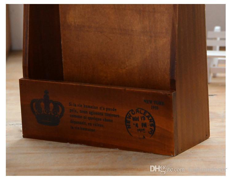 Retro Home zakka caja de almacenamiento de la pared caja de la vendimia decoración del hogar antiguo estante de la tienda de abarrotes rack zakka decorativo caja de madera dominante