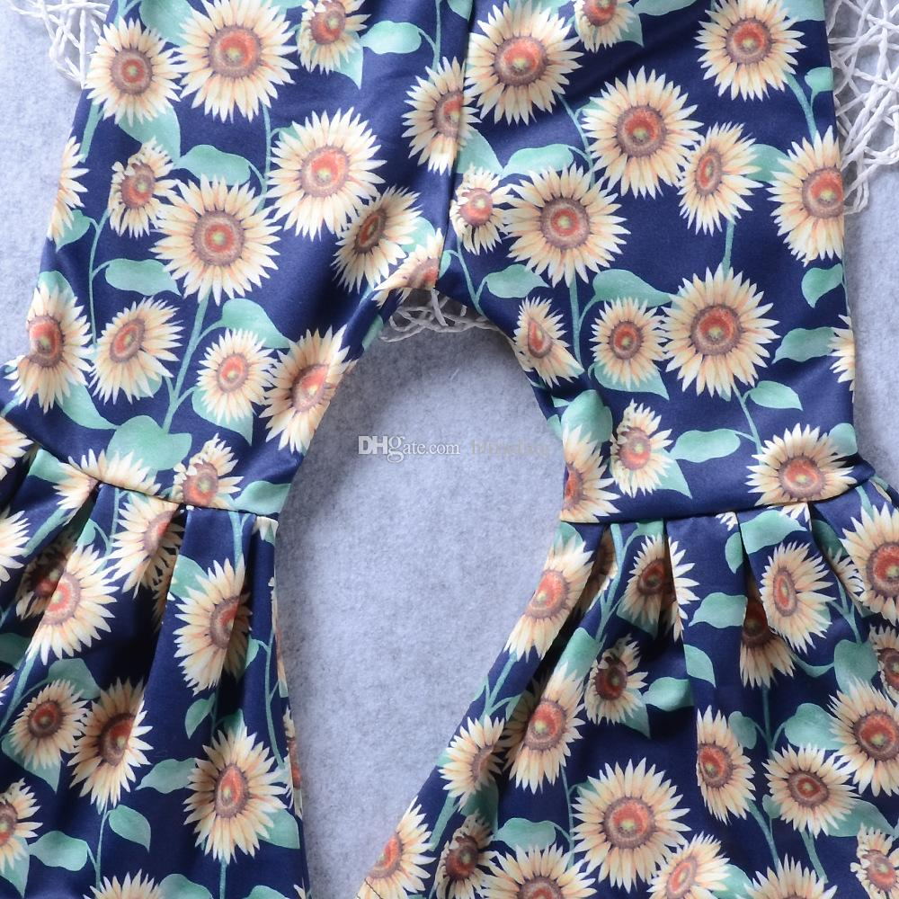 Baby Gold velvet outfits girls velvet Off Shoulder top+chrysanthemum print Flare pants 2018 new Boutique kids Clothing Sets C3585