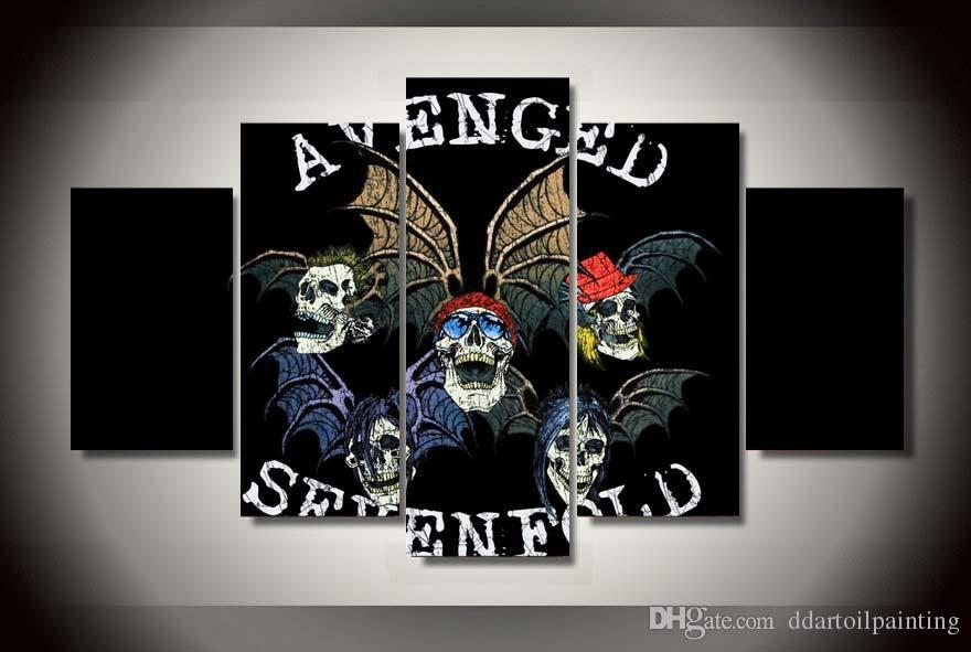 LARGE 5Panels Avenged Sevenfold a7x Rock Poster Giclee Canvas Prints Home Decor interior No Frame
